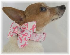 Breast Cancer Awareness Pink Ribbon with Bow Dog Collar