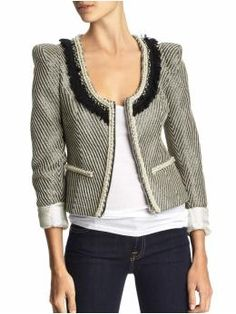 I love this really cute Chanel inspired jacket from the Gap.  Got up late?  You can't go wrong with jeans, a white tea, and a fabulous jacket.  A little arm candy and some fabulos heels is all this outfit needs to be complete!