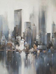 city apartment - Art - painting technique ideas. Beautiful!: #OilPaintingCity
