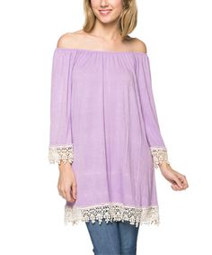 Look what I found on #zulily! Lilac Crochet-Trim Scoop Neck Tunic by Celeste #zulilyfinds