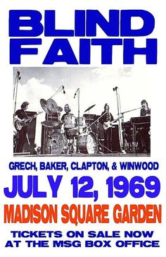 Some day there will be a concert poster for the Salt Lake Blind Faith show. Pop Posters, Band Posters, Event Posters, Vintage Concert Posters, Vintage Posters, Jazz, Bruce Dickinson, Blind Faith, Music Pics