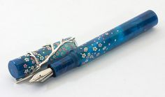 Hand Crafted Fountain Pen Falling Sakura in Blue Night by 18111com