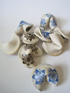 Handpainted white stoneware ceramic fortune by AlmondPottery, $12.00