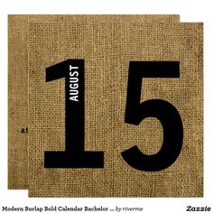 Modern Burlap Bold Calendar Bachelor or Birthday Card