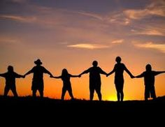 Happiness: holding hands with friends