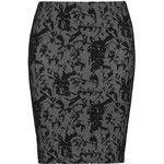 Zhenzi Black / Grey Plus Size Fine knit jacquard pencil skirt
