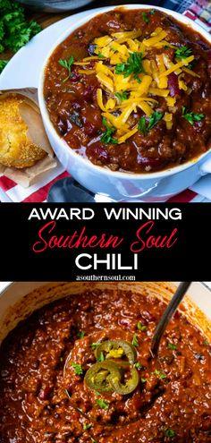 Beef Chili Recipe, Chilli Recipes, Pot Roast Recipes, Bean Recipes, Soup Recipes, Gourmet Chili Recipe, Seafood Recipes, Best Southern Chili Recipe, Pork