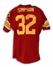 OJ Simpson Autographed USC Maroon Throwback Jersey by Athletic Promotional Events. $313.95. Autographed USC Trojans OJ Simpson USC Maroon Throwback Jersey. This item comes with a special tamper proof hologram and certificate of authenticity from Athletic Promotional Events. What a great collectible or gift for the serious NCAA fan!