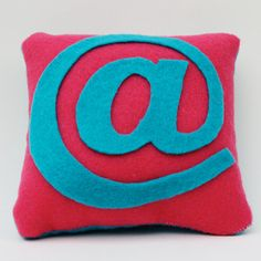 Adorable! Magenta and Cyan @ Pillow by birddoodle on Etsy, $10.00