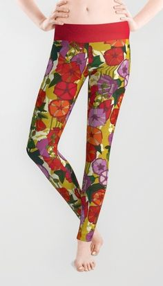holly hocky leggings #society6 #floral #flowers #retro #illustration #pattern #hollyhocks #sharonturner #scrummy ~ pattern on loots of products :D
