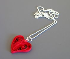 Quilled Heart Necklace - cute to add to a Valentine's Day themed scrapbook page.