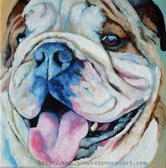 Original Bulldog Portrait Painting 10x10 by me Sandra Spencer. $65.00, via Etsy.