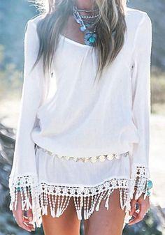 Stylish Scoop Neck Lace Embellished Long Sleeve Dress For Women