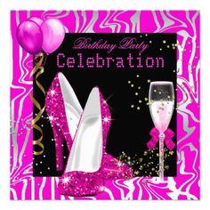 Hot Pink Gold silver Glitter Zebra Black Party Personalized Announcement invitations Birthday invitations by zizzago.com