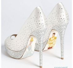 Cinderella wedding shoes! So gorgeous. I would love it if these were the same blue as Cinderella's dress!