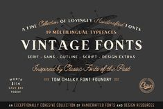 The Handcrafted Vintage Fonts Pack by Tom Chalky on @creativemarket