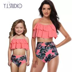 Mother and Daughter Swimsuit Mommy Swimwear Bikini sets Brachwear Clothes Look Mom Baby Dresses Clothing Family Matching Outfits Women's Swimsuits & Cover Ups, Cute Swimsuits, Women Swimsuits, Swimwear Fashion, Bikini Swimwear, Bikini Fashion, Bikini Set, Bikini Bottoms, Kids Fashion