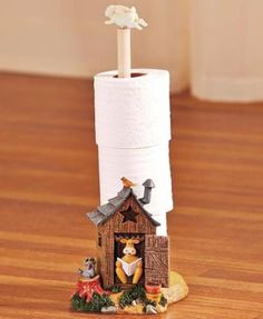 Toilet Paper Holder Nature Calls Outhouse Cabin Lodge Country Bear Raccoon NEW