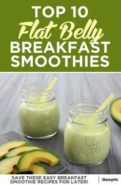 Top 10 Flat Belly Breakfast Smoothies If you're looking to lose weight, especially around your waist, make healthy decisions beginning in the morning to set the tone for the rest of your day. These delicious smoothies are a great choice. Diet Smoothie Recipes, Breakfast Smoothie Recipes, Smoothie Diet, Diet Recipes, Healthy Recipes, Green Breakfast Smoothie, Healthy Breakfasts, Smoothie Drinks, Breakfast Smoothies For Weight Loss