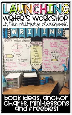 Launching Writer's Workshop in the Primary Classroom with mini-lesson ideas, anchor chart ideas, book ideas, and freebies! Launching Writers Workshop, Writer Workshop, Kindergarten Writing, Teaching Writing, Kindergarten Writers Workshop, Teaching Ideas, Teaching Activities, Writing Mini Lessons, Writing Ideas