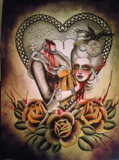 Lose your head...Marie Antoinette Tattoo by Cristine Garcia at Primal Tattoo Gallery Inc., in Casselberry, Florida