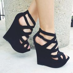 Suede Cut-Outs Wedge