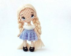crochet doll miniature doll little doll collectible doll crochet toy miniature toy amigurumi doll mother's day blonde doll with braids