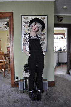 #overalls #casual #stripes #blackandwhite #trendy