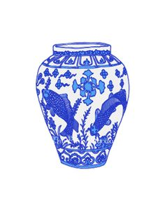 Blue and White Chinoiserie Vase on White 8x10 by thepinkpagoda, $25.00