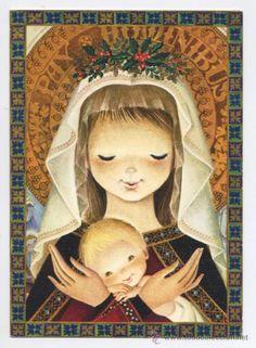 FELICITACION NAVIDAD FERRANDIZ - *LA VIRGEN* - 1969 (16,5 X 11,5 CM) (Postales - Navidad) Christmas Rock, Christmas Nativity, Winter Pictures, Christmas Pictures, Mother Mary, I Love You Mother, Madonna And Child, Prayer Cards, Christmas Illustration