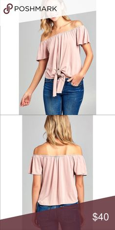 Blush Pink Off The Shoulder Tie Summer Top Brand new never worn. This is sand washed. 74% modal 26% poly Tops