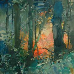 Autumn Sketch 3 - watercolor on yupo - 6x6