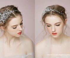 Bridal Sterling Silver Headpiece Hand Wired Flower by ShieldBeads