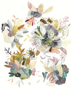 Michelle Morin illustrates different flora and fauna in bright colors and patterns using water color and gouache paint.