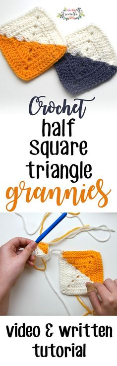 Learn to crochet easy quick half square triangle granny squares with this video and written tutorial. This diy project can make pretty afghan blankets, pillows, and baby items!