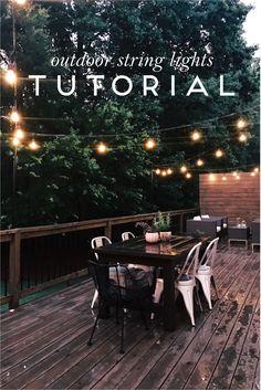 Outdoor String Lights Tutorial // Hanging String Lights On Deck using Poles #outdoorideasbackyard