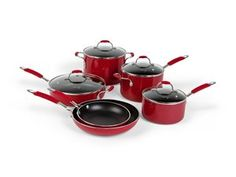 Red 10-pc. Simply Calphalon Enamel Nonstick Cookware Set by Calphalon by Calphalon at Cooking.com #holidaycooking