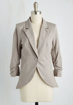 Fine and Sandy Blazer in Pebble. No need to roll up your sleeves before the big meeting - this one-button blazer boasts ruched 3/4-length sleeves for a look that means chic and functional business. #gold #prom #modcloth