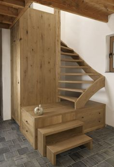 Small home compact natural wood stairs with storage
