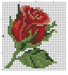 Flor, rosa, vermelha, ponto cruz