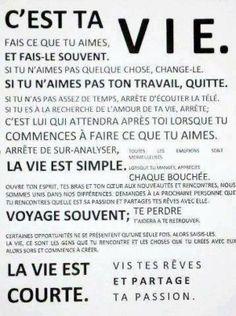 Citations option bonheur: Fais ce que tu veux ! The Words, Words Quotes, Me Quotes, Sayings, Jolie Phrase, Do What You Like, French Quotes, Think, Teaching French