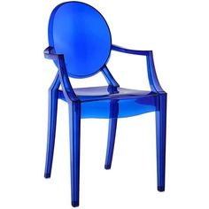 Philippe Starck Style Louis Ghost Arm Chair Blue ($95) ❤ liked on Polyvore featuring home, furniture, chairs, ghost chairs, blue arm chair, blue furniture, blue armchair and ghost armchair