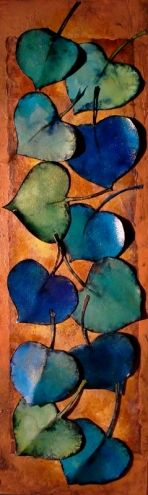 """""""GREEN AND BLUE LEAVES"""" 12024, contemporary mixed media aspen leaves © Carol Nelson Fine Art, painting by artist Carol Nelson"""