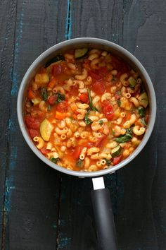 Vegan Minestrone - White Bean Soup with Elbows, Veggies, Basil and vegan parmesan. Can be gluten-free, nut-free. Soy-free Vegan Dairy-free Recipe | VeganRicha.com