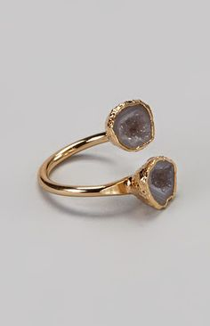 Gray Geode & Gold Ring