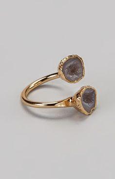 Gray Geode & Gold Ring
