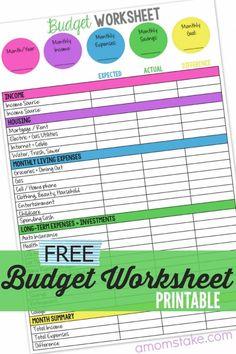 budget worksheets printable