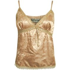 ALANNAH CRINKLE SATIN CAMI TOP IN GOLD ($6) ❤ liked on Polyvore featuring tops, gold cami, lace trim tank, camisoles & tank tops, gold tank and gold camisole