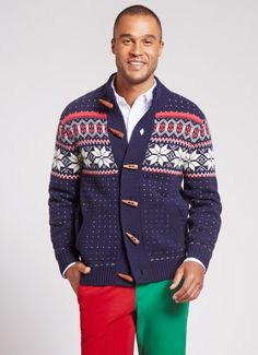 Bonobos Snow Toggles men's Holiday sweater. Scandinavian inspired with snowflakes.