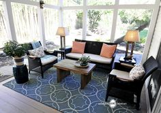 Arlington Home Interiors featured a Rain rug from Surya in this lovely screened in porch (RAI-1093). #suryaspaces